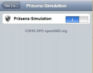 openHAB - Oberfläche: Präsenzsteuerung
